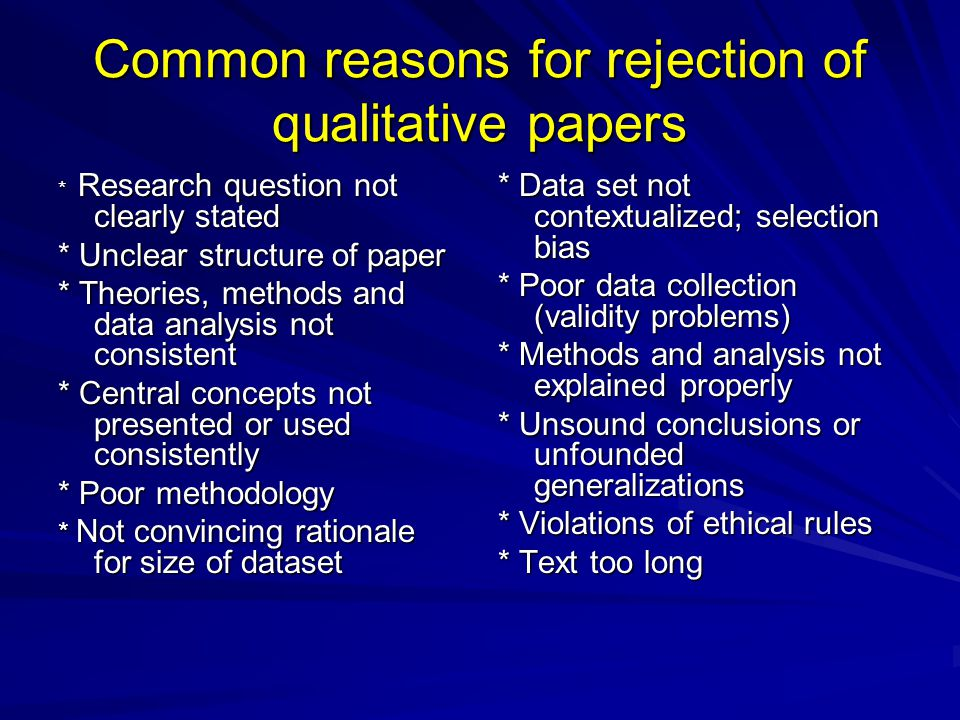 Common reasons for rejection of qualitative papers