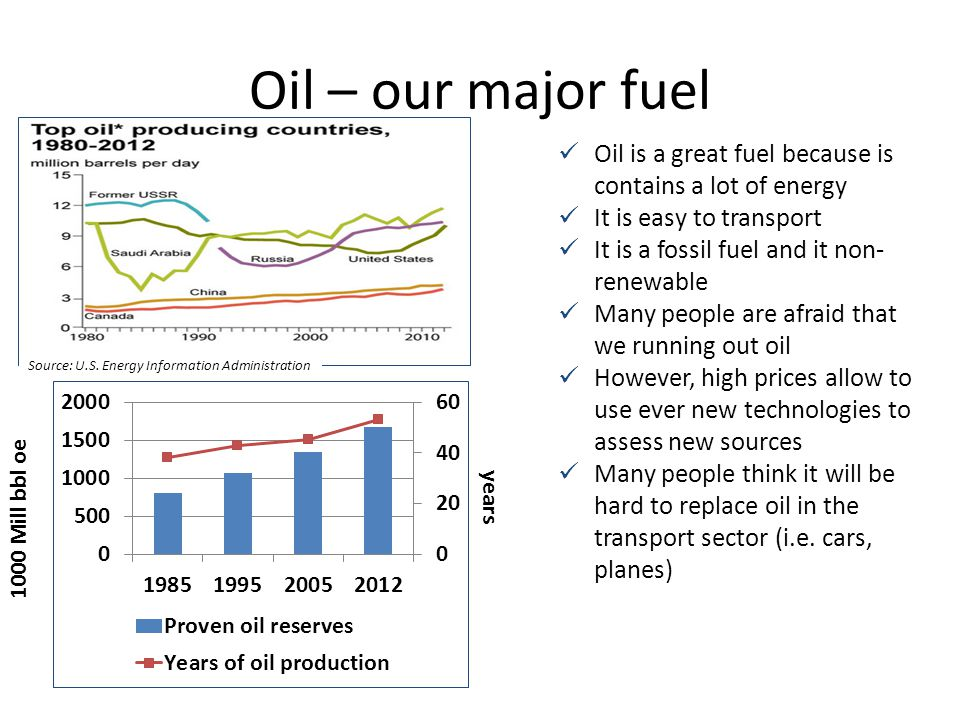 Oil – our major fuel Oil is a great fuel because is contains a lot of energy. It is easy to transport.