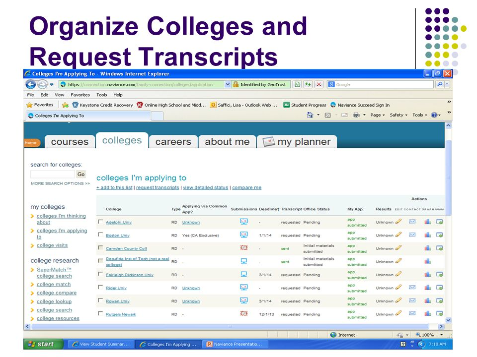 Organize Colleges and Request Transcripts
