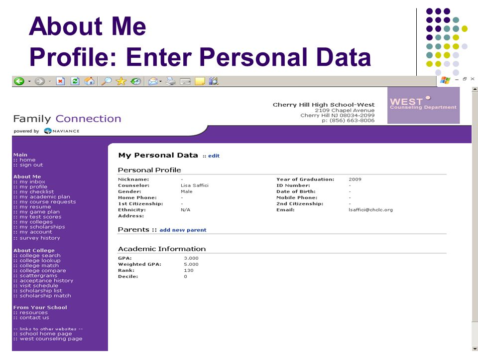 About Me Profile: Enter Personal Data