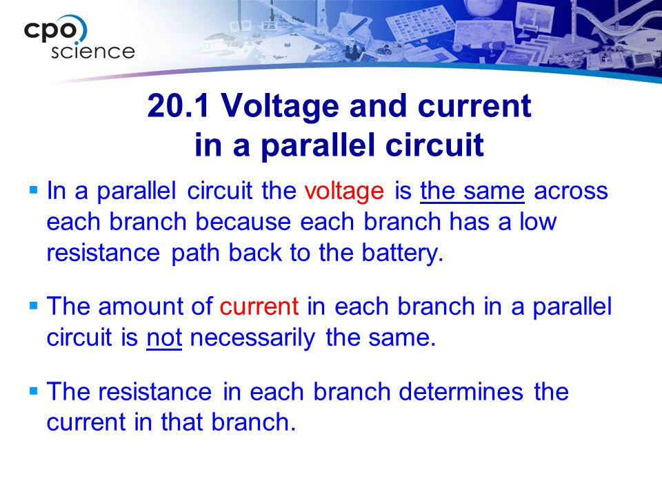 20.1 Voltage and current in a parallel circuit