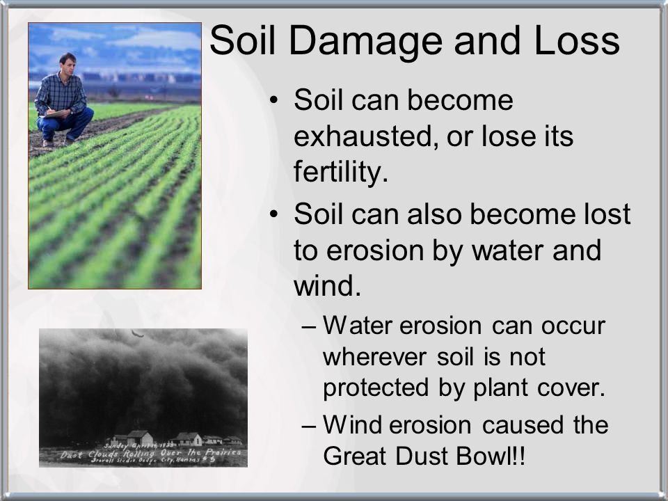Soil Damage and Loss Soil can become exhausted, or lose its fertility.