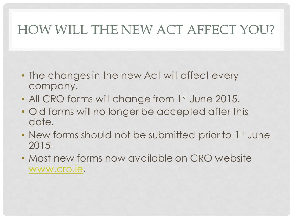 How will the new act affect you