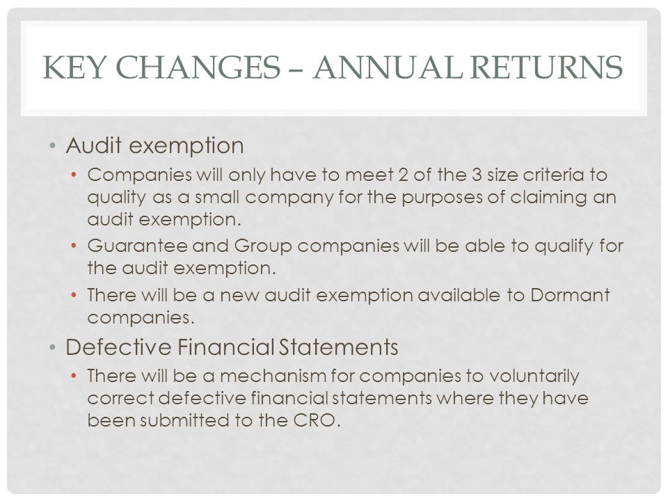 Key Changes – Annual Returns