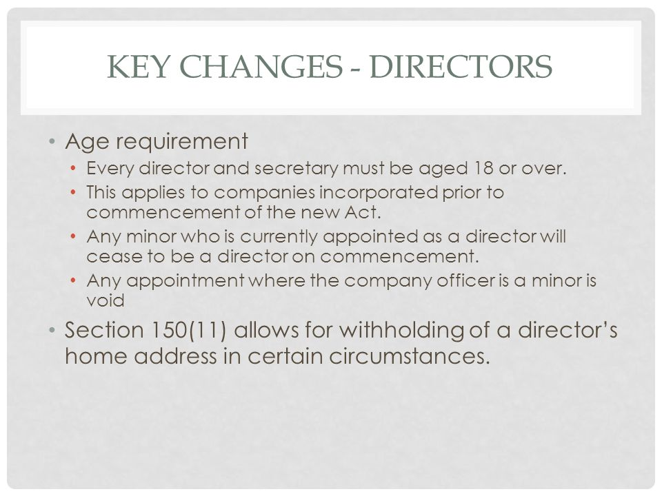 Key changes - directors