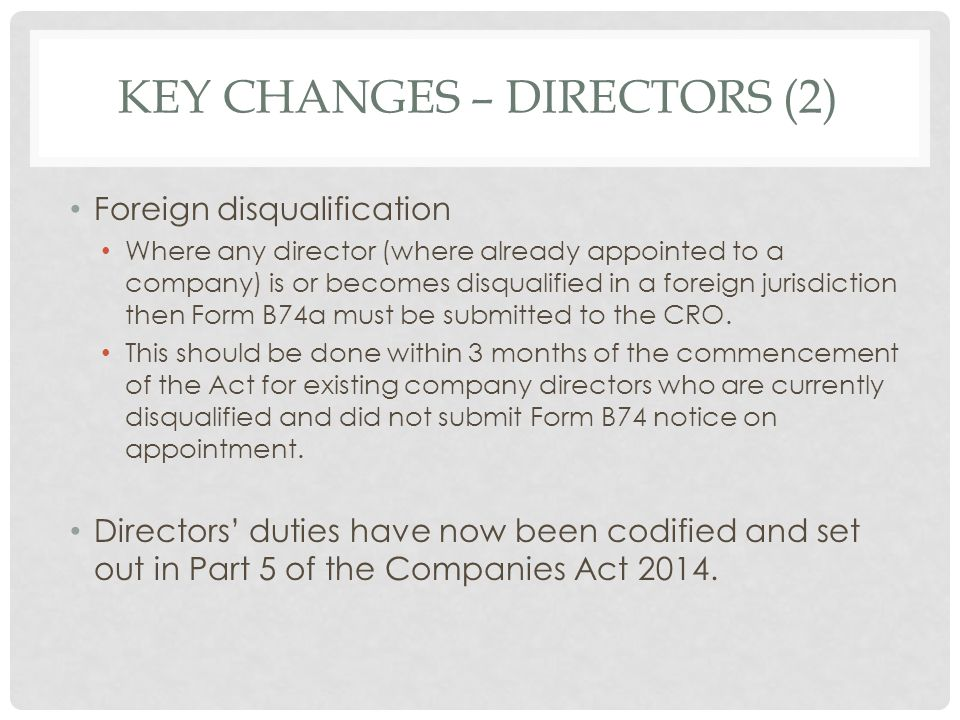 Key changes – directors (2)