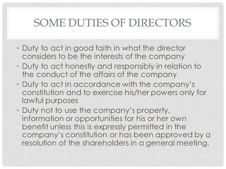 Some Duties of Directors