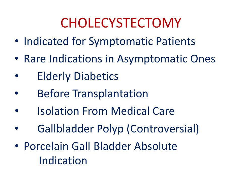 CHOLECYSTECTOMY Indicated for Symptomatic Patients