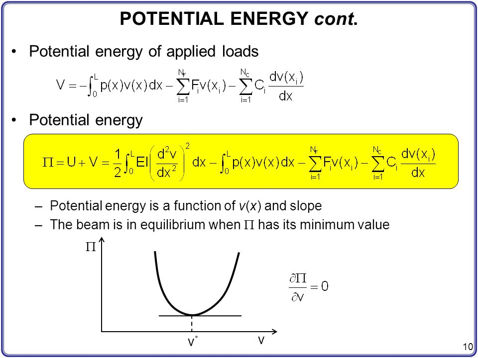 POTENTIAL ENERGY cont. Potential energy of applied loads