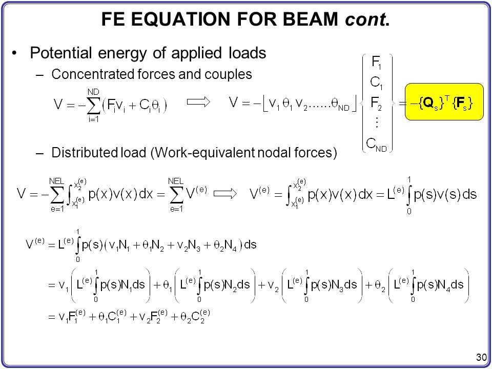FE EQUATION FOR BEAM cont.