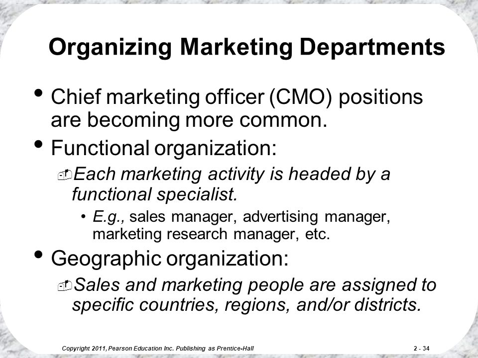Organizing Marketing Departments