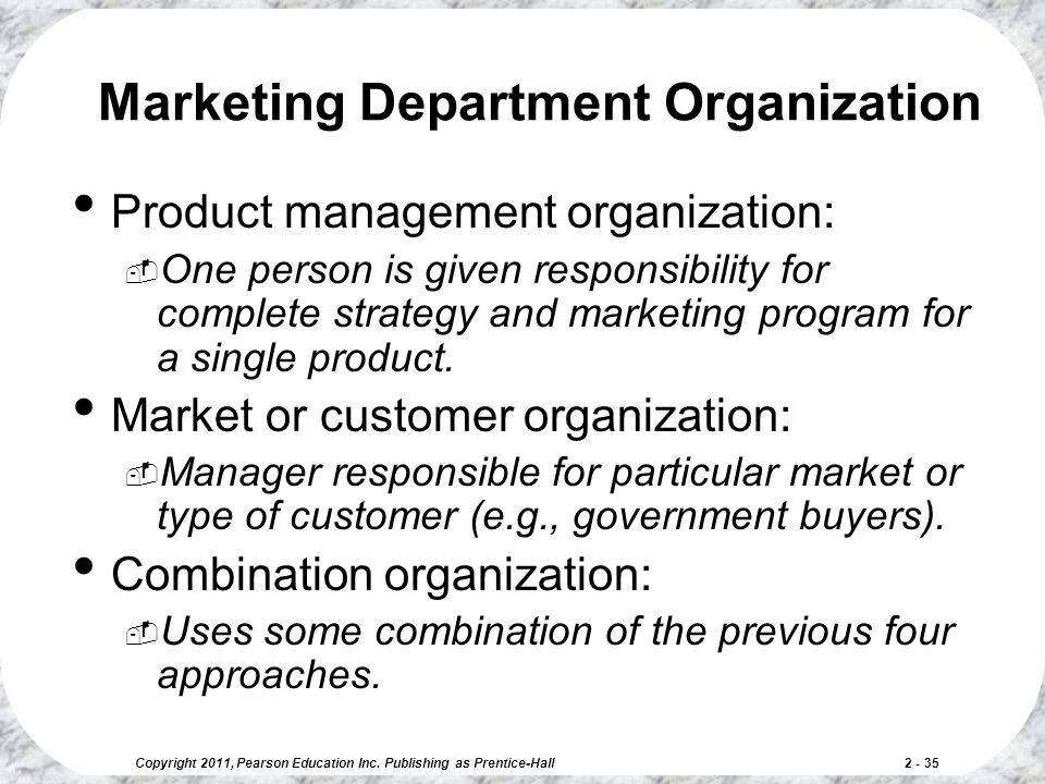 Marketing Department Organization