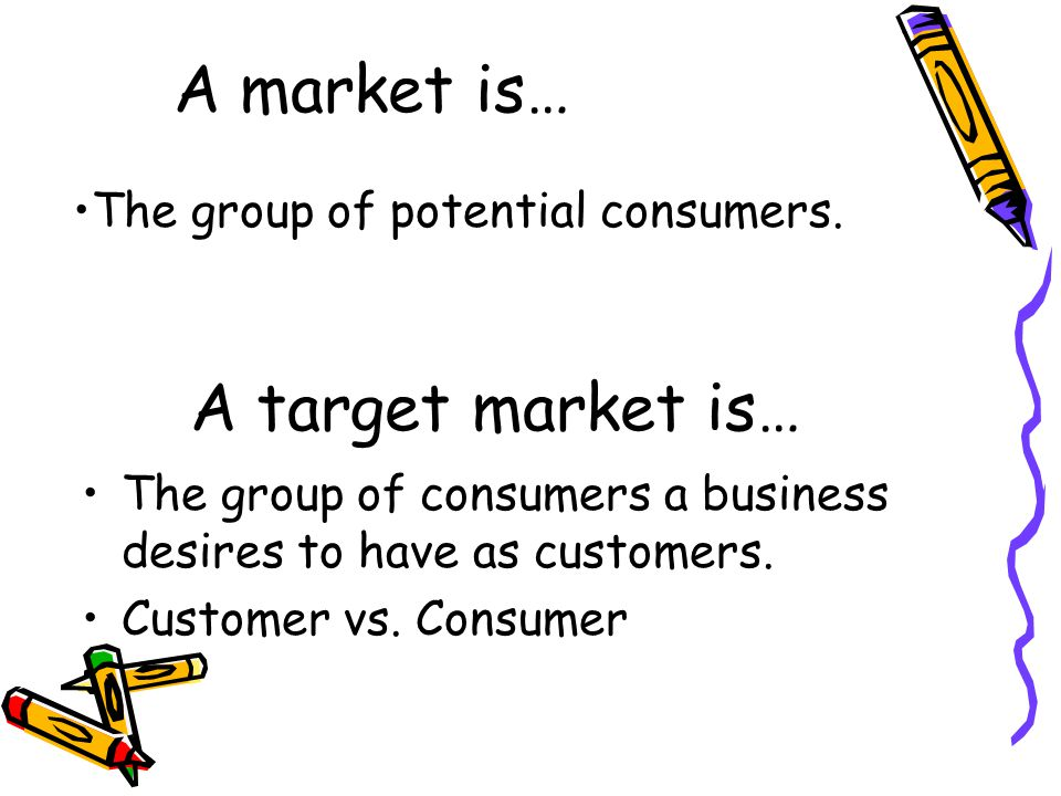 A market is… A target market is… The group of potential consumers.