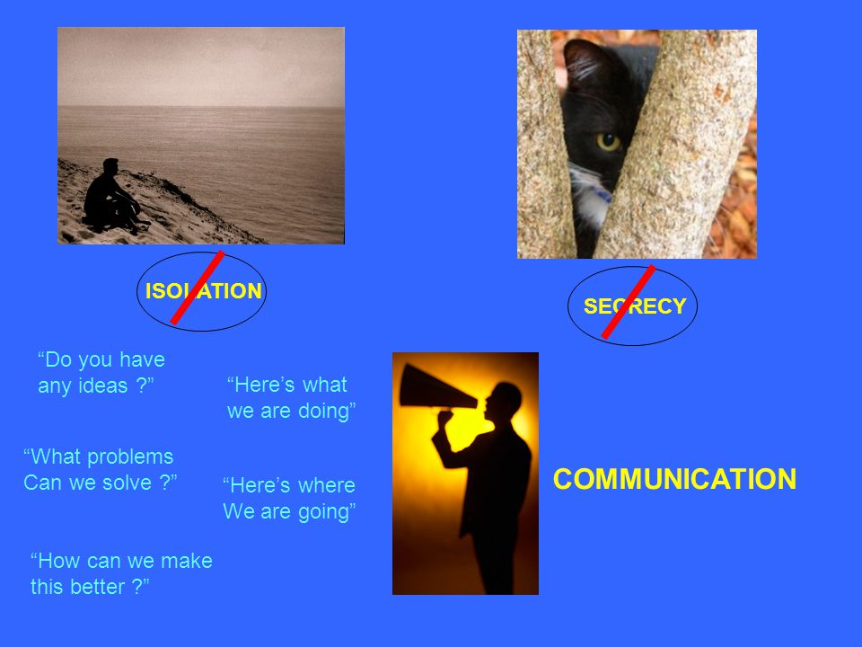 COMMUNICATION ISOLATION SECRECY Do you have any ideas Here's what