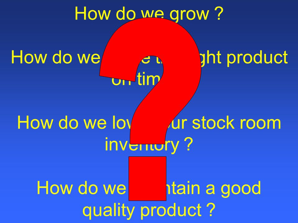 How do we grow. How do we make the right product on time