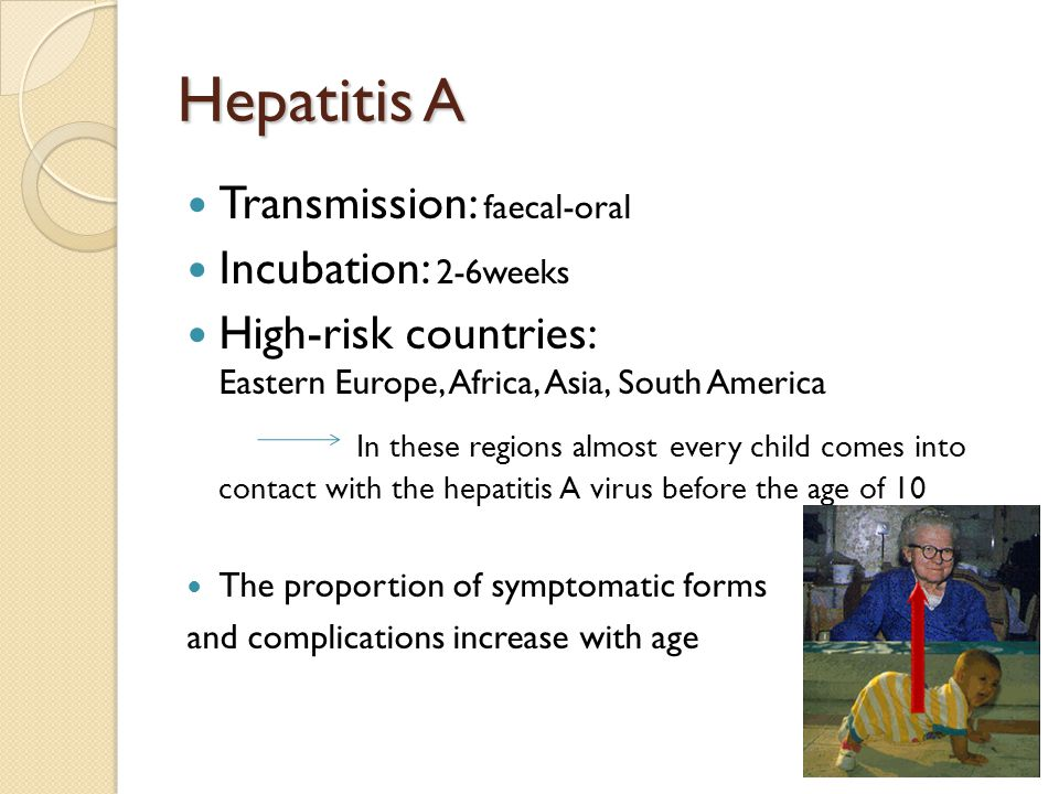 Hepatitis A Transmission: faecal-oral Incubation: 2-6weeks