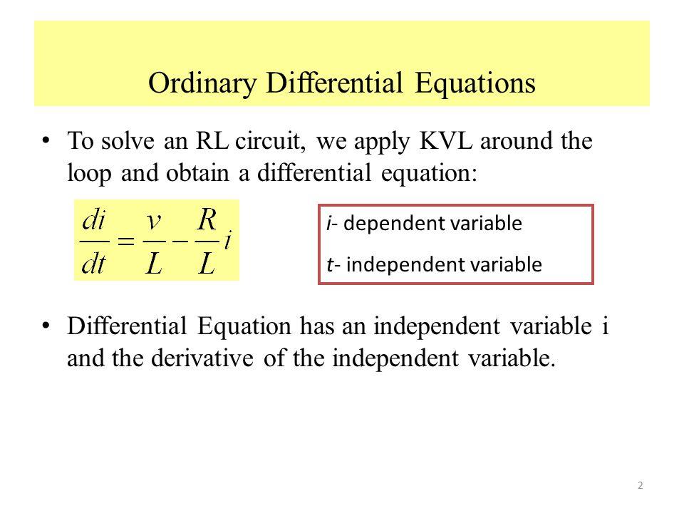 Sensational Application Of Ordinary Differential Equations Series Rl Circuit Wiring Database Aboleterrageneticorg