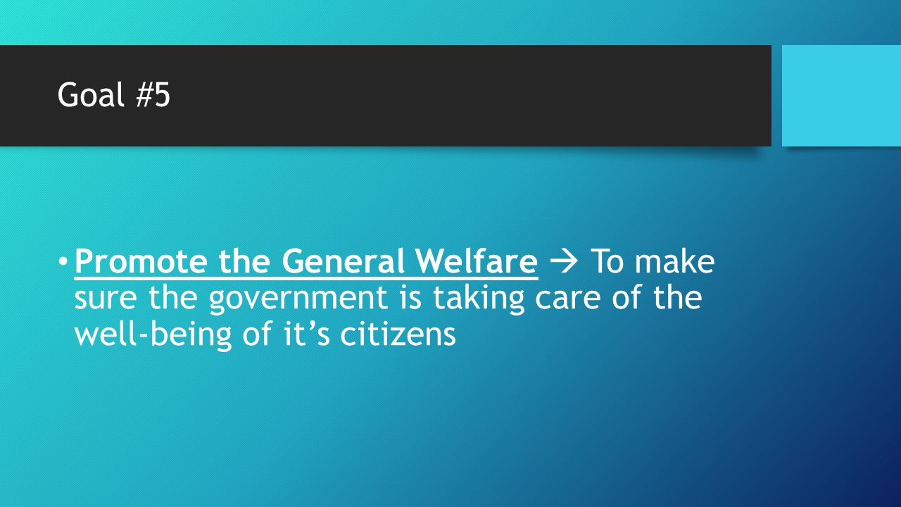 Goal #5 Promote the General Welfare  To make sure the government is taking care of the well-being of it's citizens.