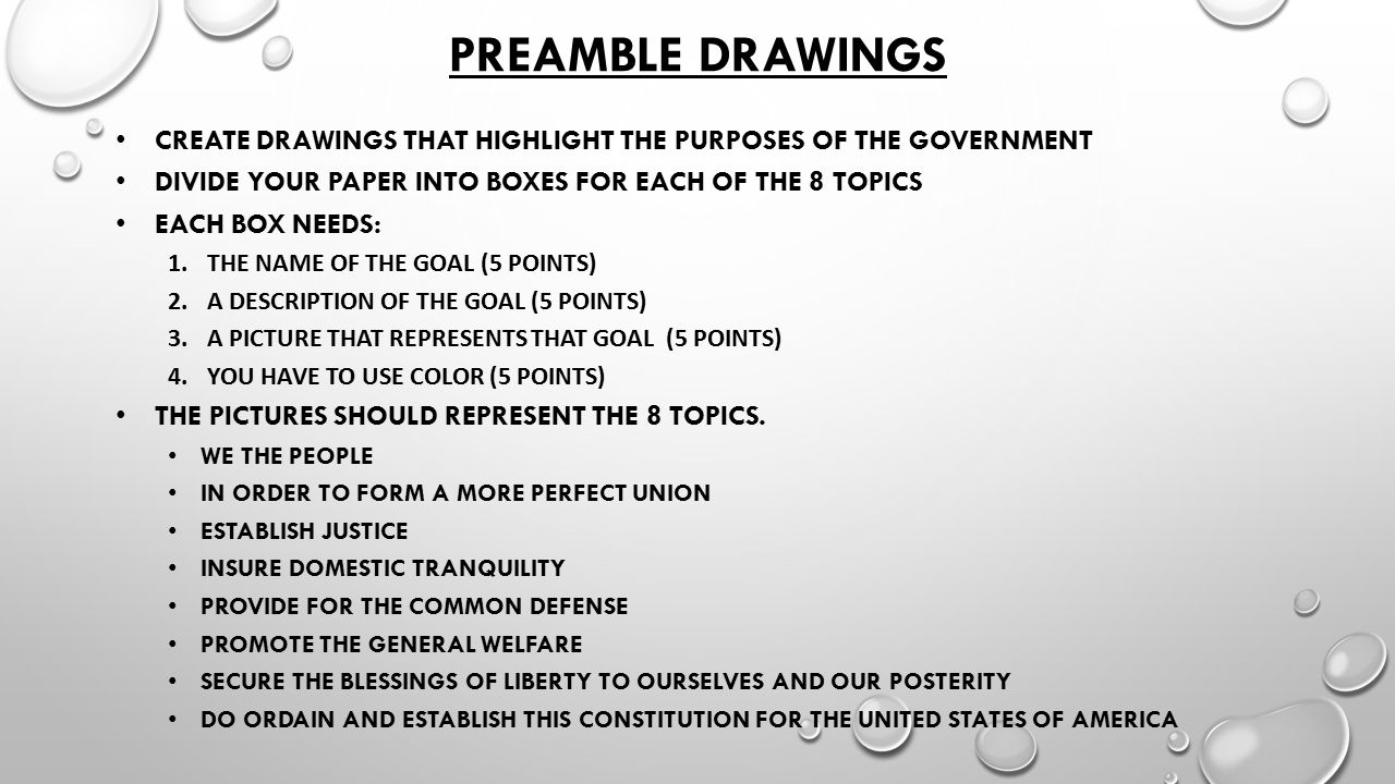 Preamble Drawings Create drawings that highlight the purposes of the government. Divide your paper into boxes for each of the 8 topics.