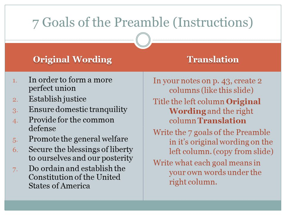 7 Goals Of The Preamble Instructions