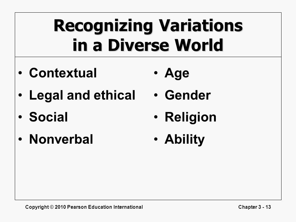 Recognizing Variations in a Diverse World
