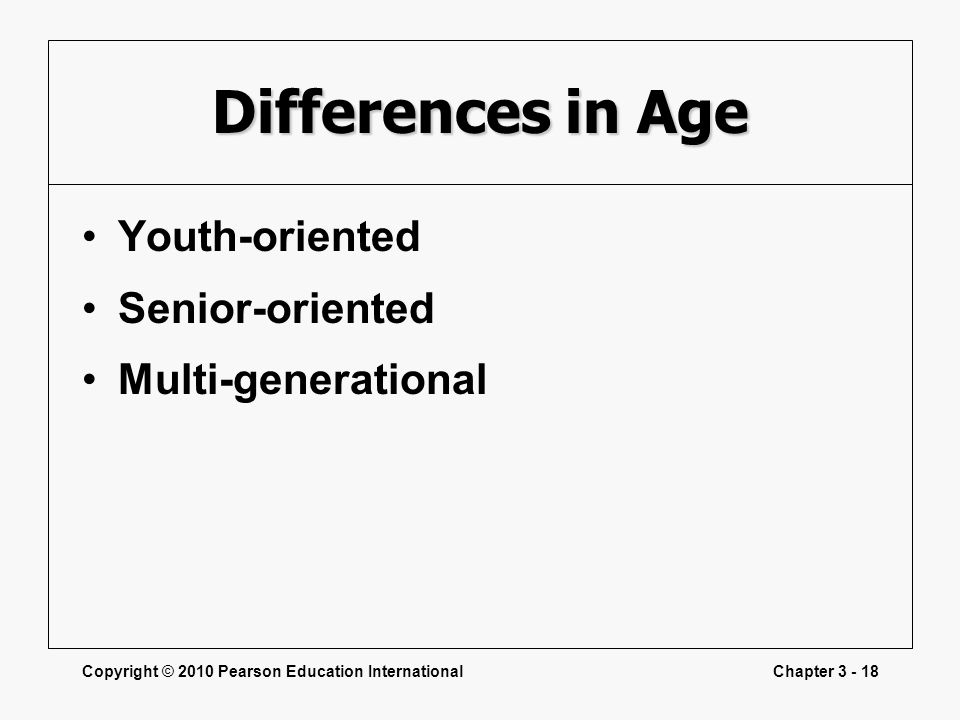 Differences in Age Youth-oriented Senior-oriented Multi-generational