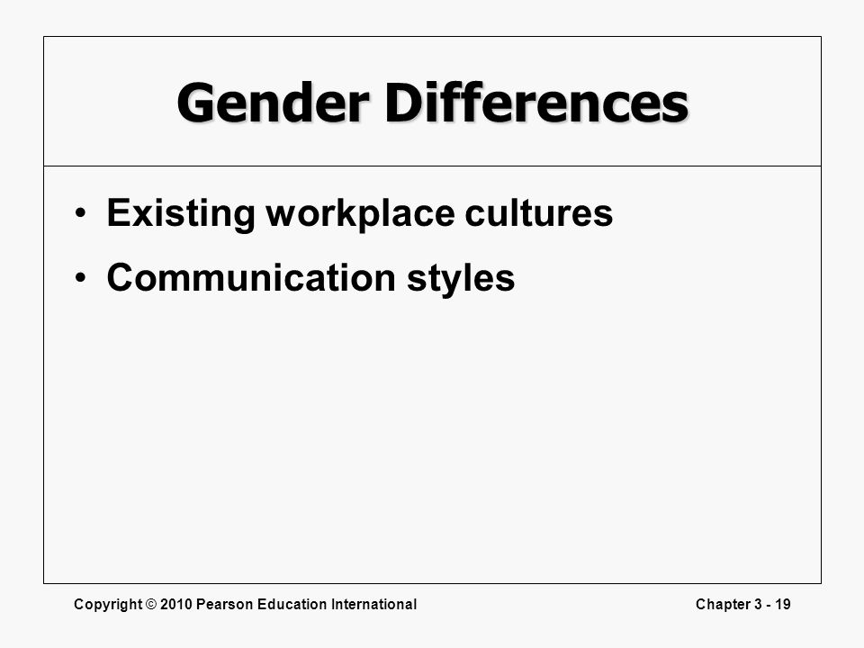 Gender Differences Existing workplace cultures Communication styles