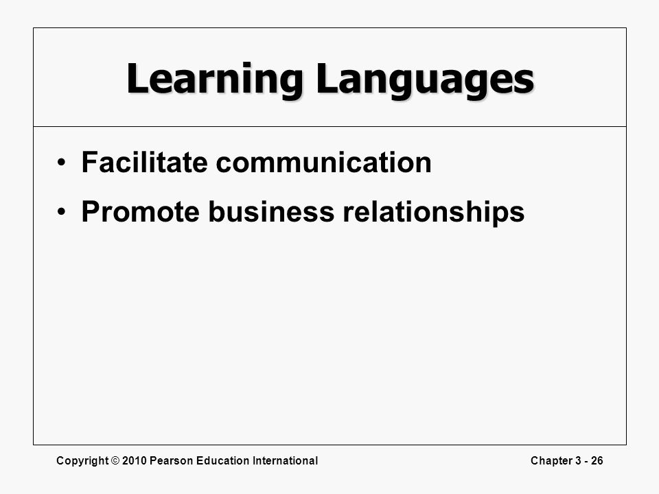 Learning Languages Facilitate communication