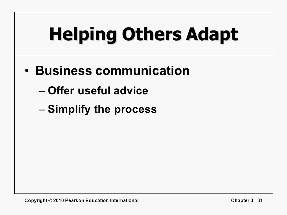 Helping Others Adapt Business communication Offer useful advice