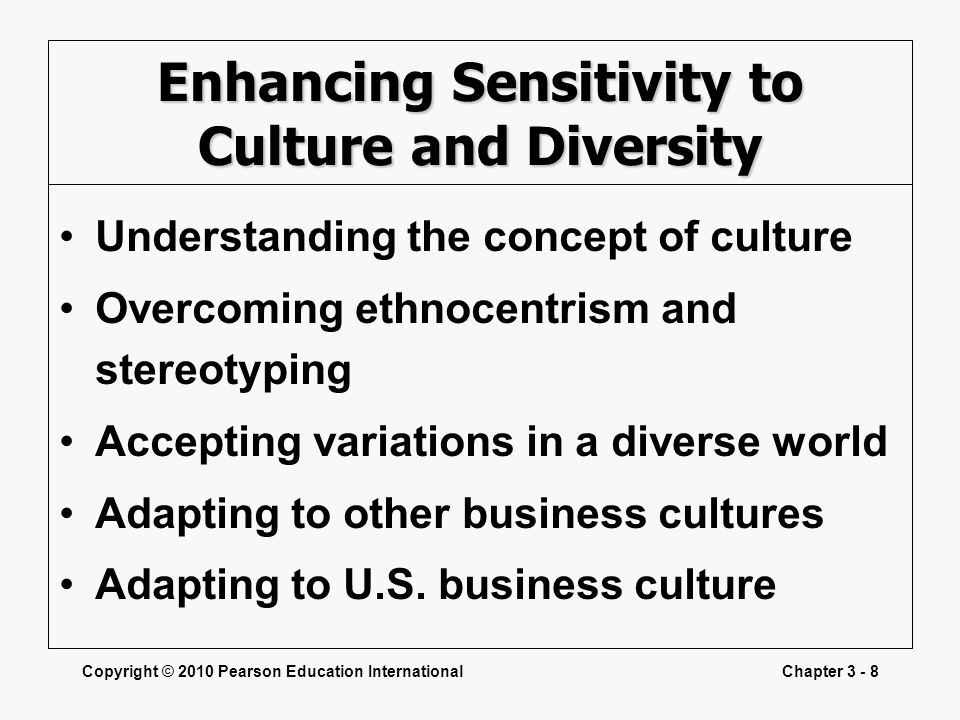 Enhancing Sensitivity to Culture and Diversity