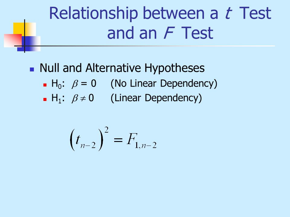 Relationship between a t Test and an F Test