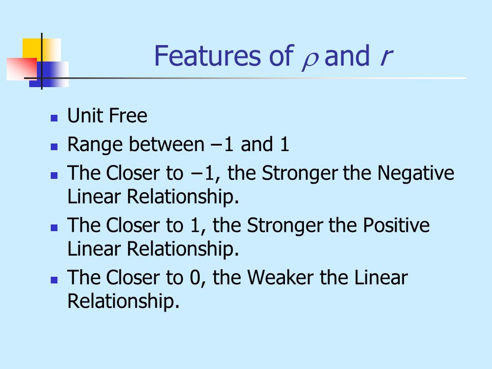 Features of r and r Unit Free Range between −1 and 1