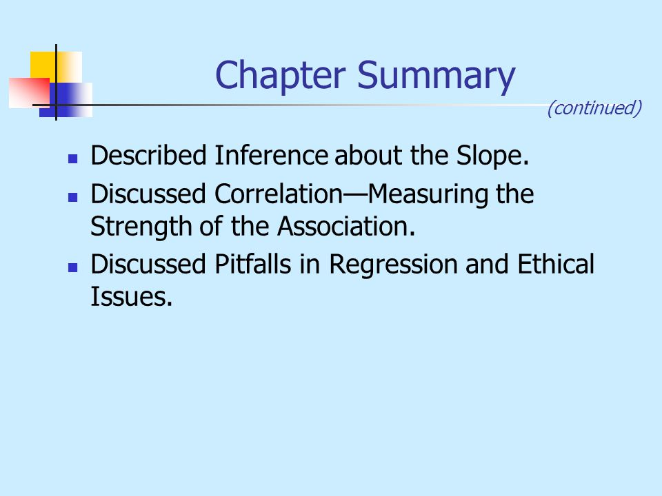 Chapter Summary Described Inference about the Slope.