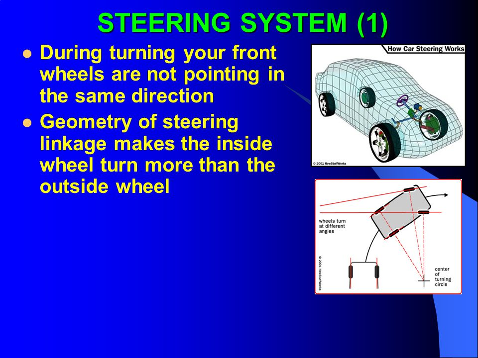 STEERING SYSTEM (1) During turning your front wheels are not pointing in the same direction.