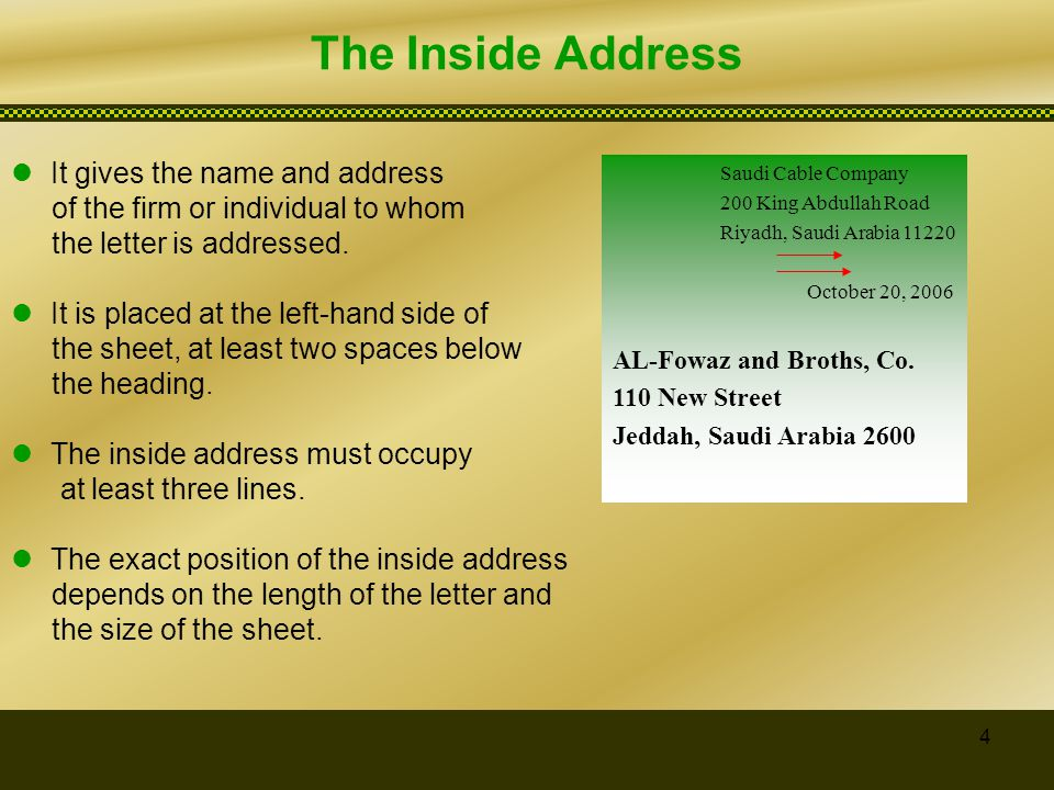 essential parts of business letter