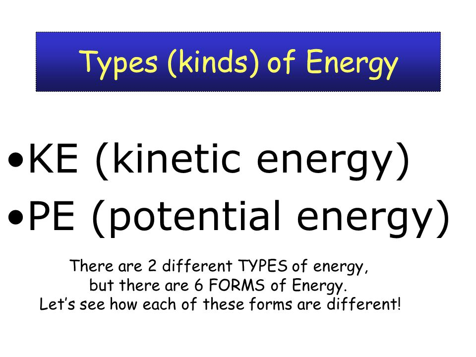 3 Types (kinds) of Energy