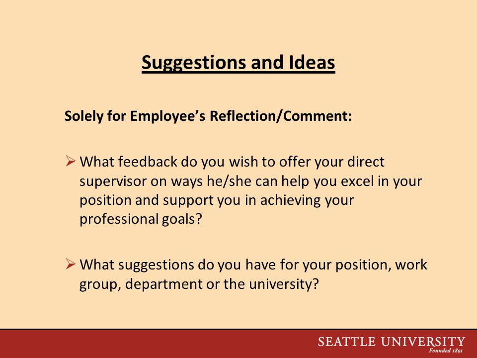 Suggestions and Ideas Solely for Employee's Reflection/Comment: