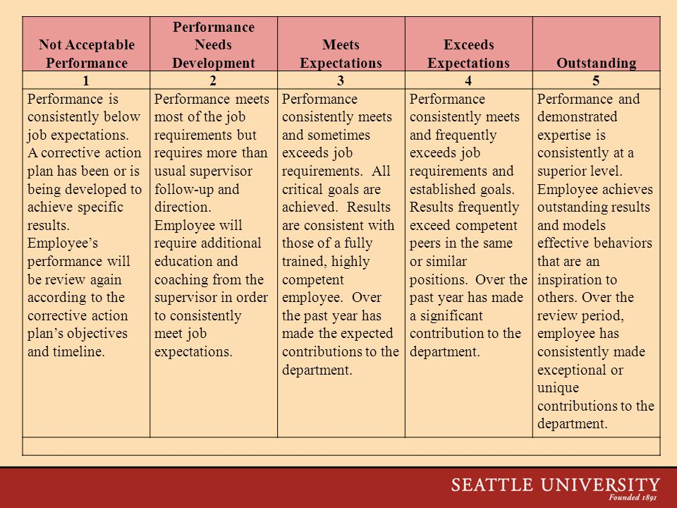 Not Acceptable Performance Performance Needs Development