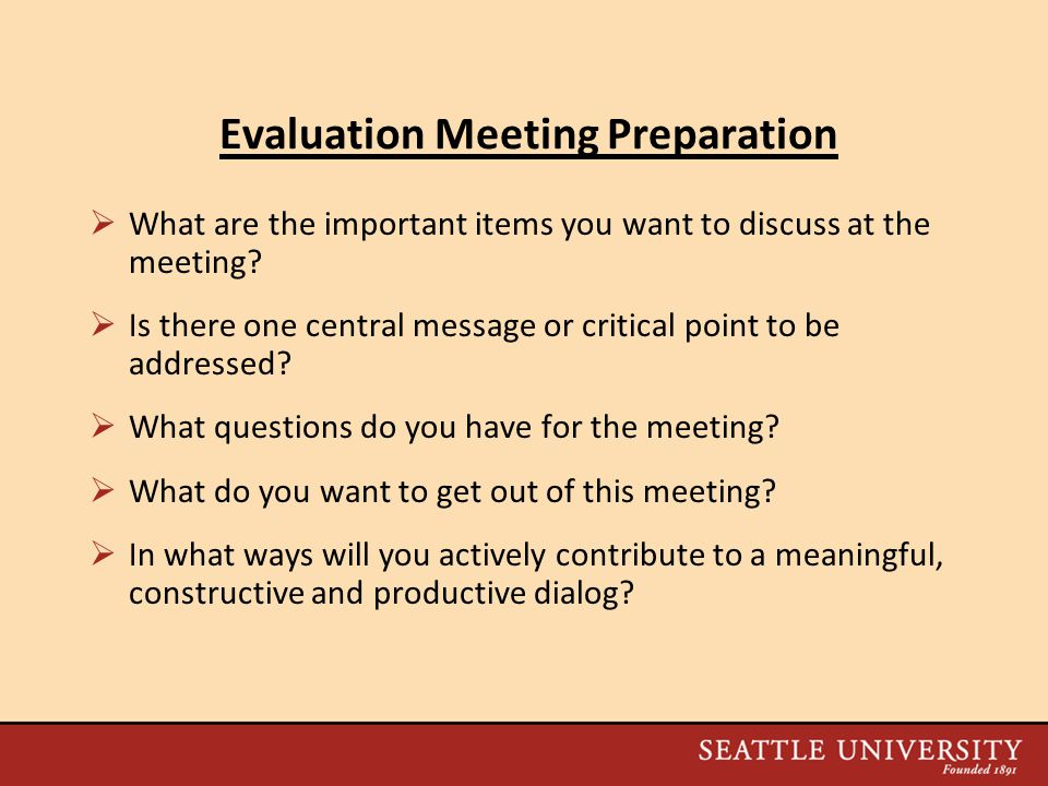 Evaluation Meeting Preparation