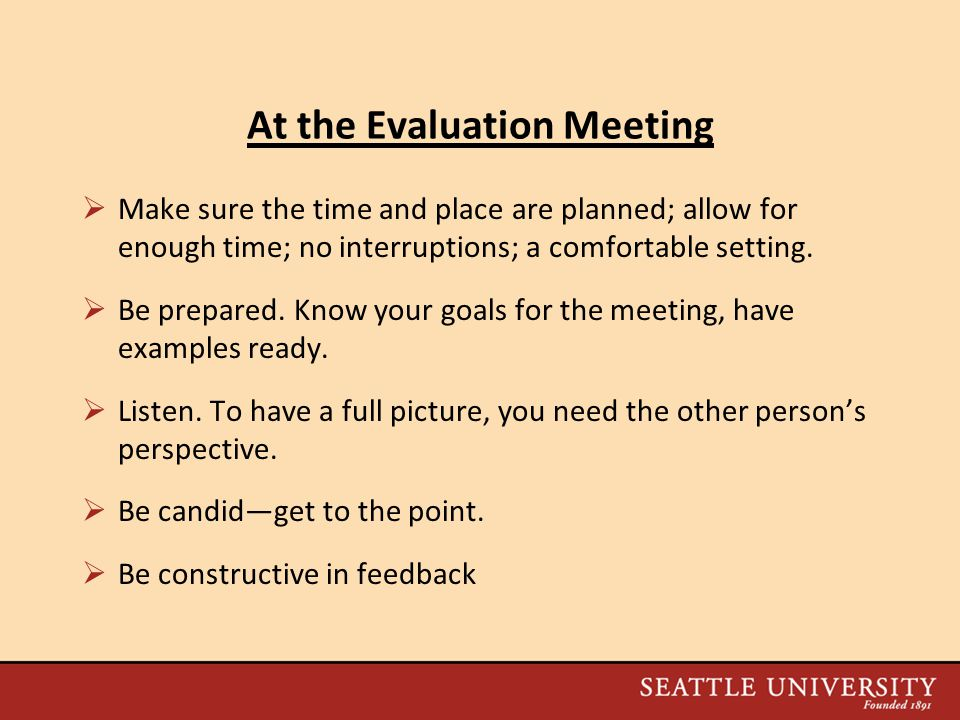 At the Evaluation Meeting