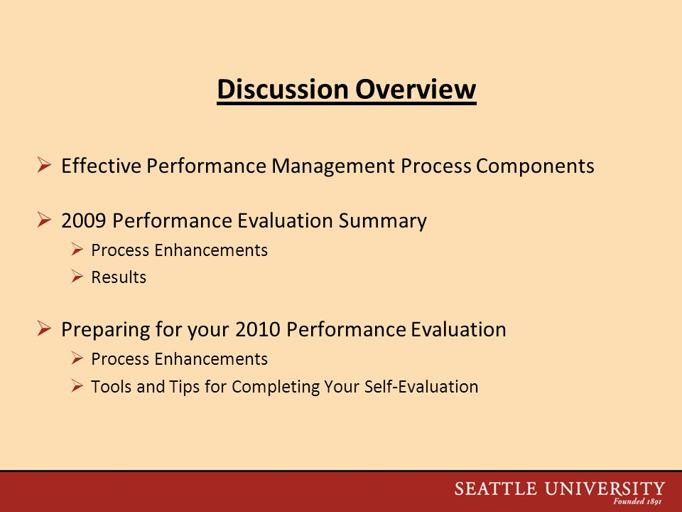 Discussion Overview Effective Performance Management Process Components Performance Evaluation Summary.