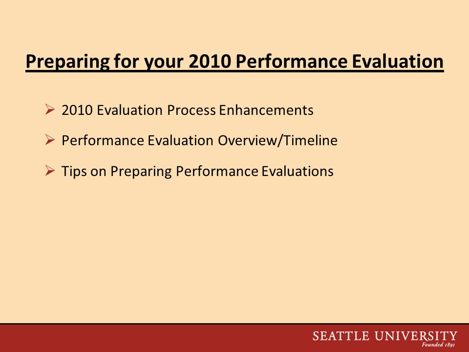Preparing for your 2010 Performance Evaluation