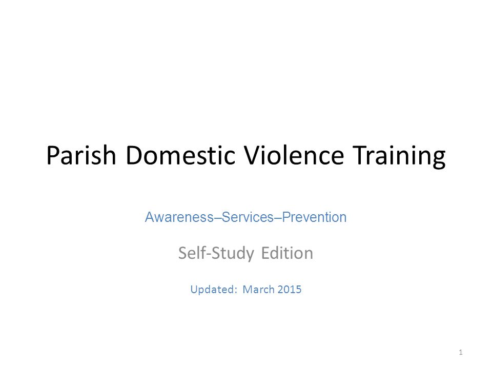 Parish Domestic Violence Training Ppt Download