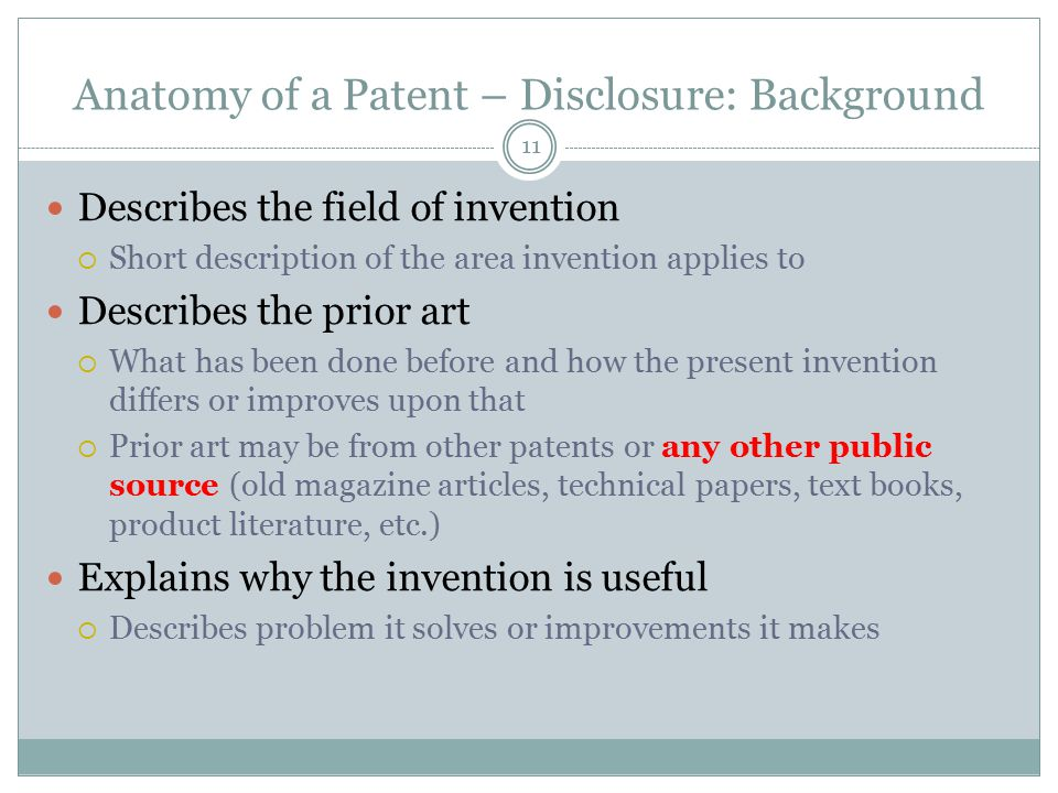 Anatomy of a Patent – Disclosure: Background