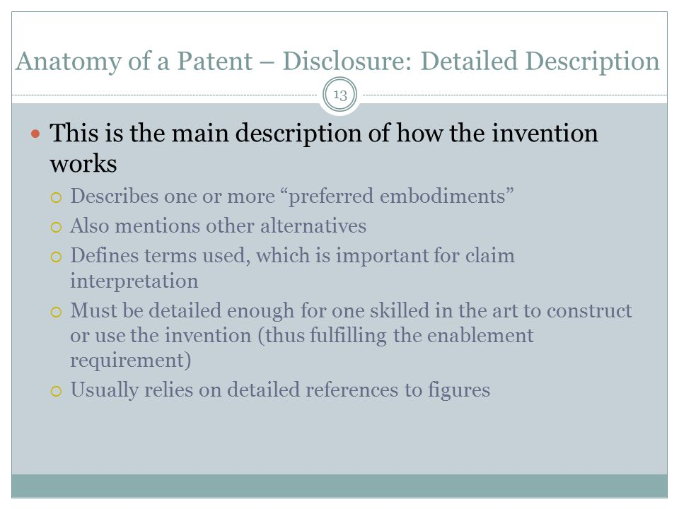 Anatomy of a Patent – Disclosure: Detailed Description