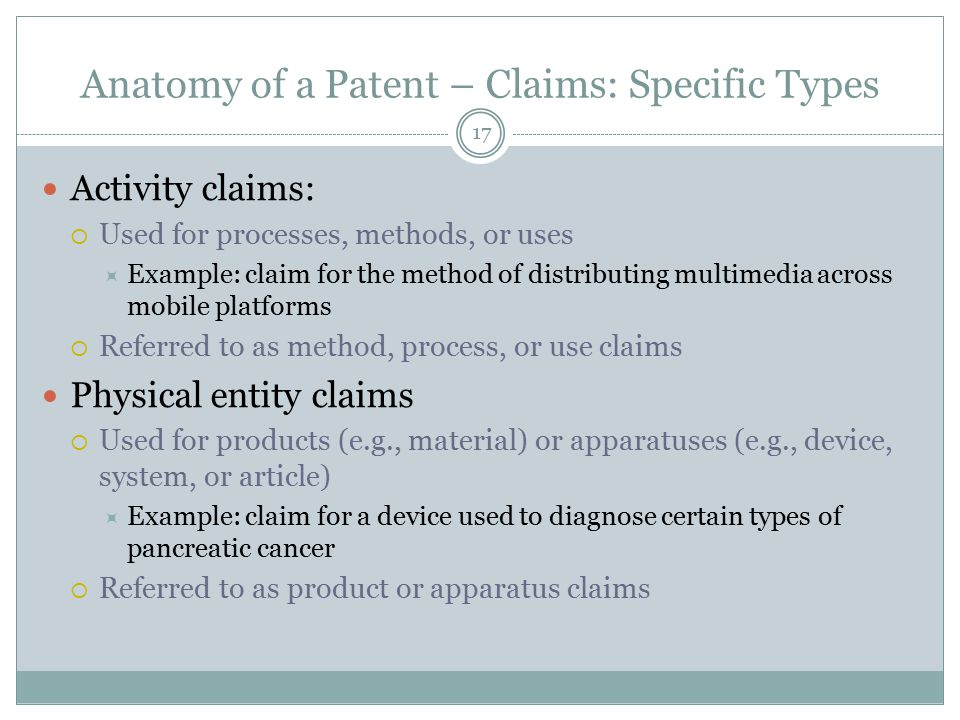 Anatomy of a Patent – Claims: Specific Types