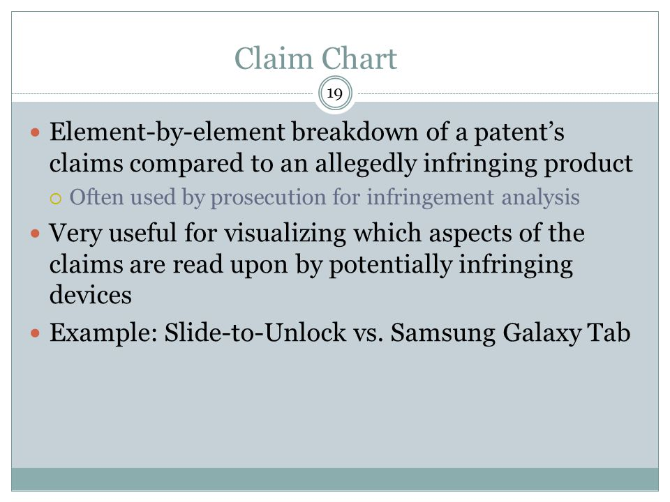 Claim Chart 19. Element-by-element breakdown of a patent's claims compared to an allegedly infringing product.