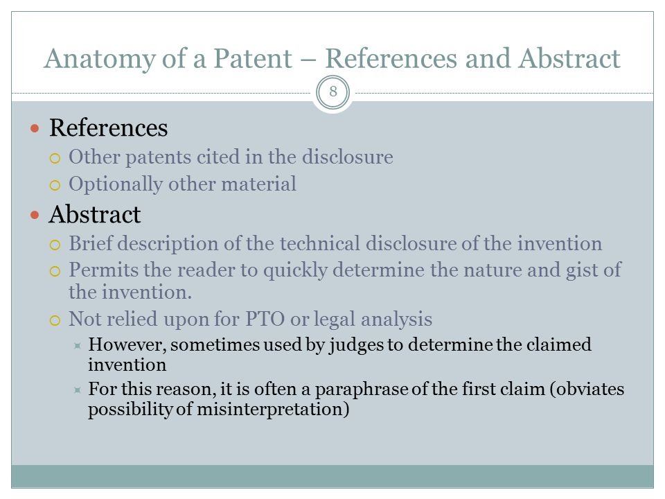 Anatomy of a Patent – References and Abstract
