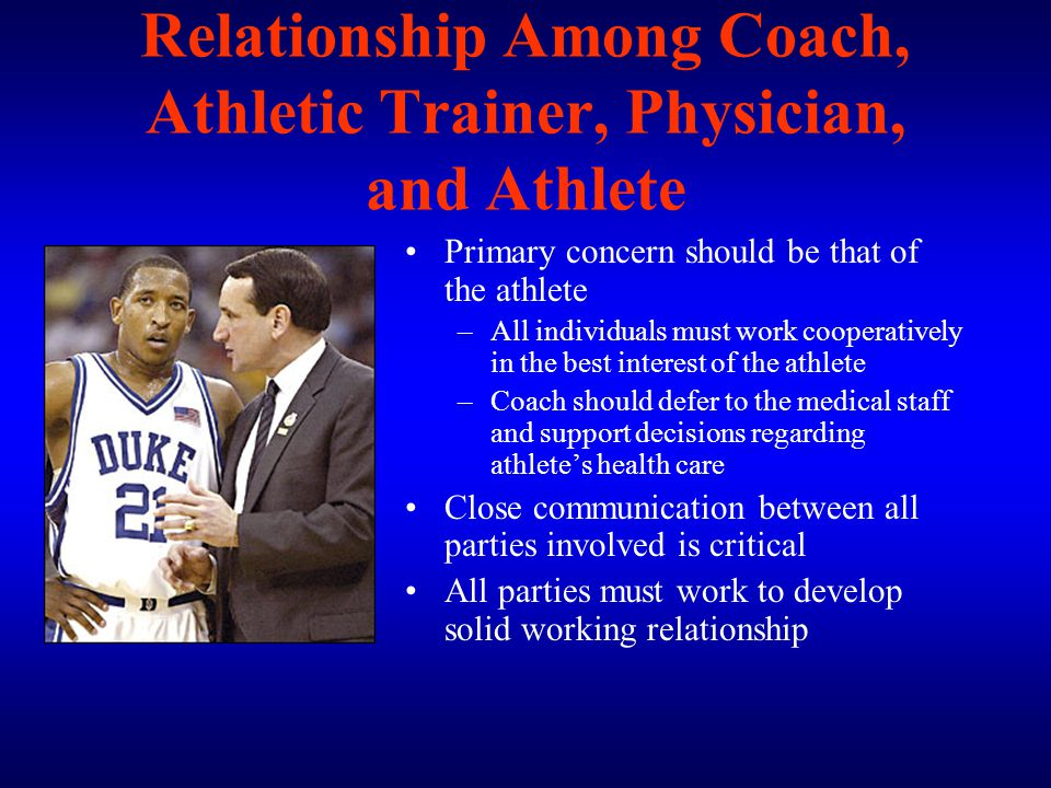 Relationship Among Coach, Athletic Trainer, Physician, and Athlete