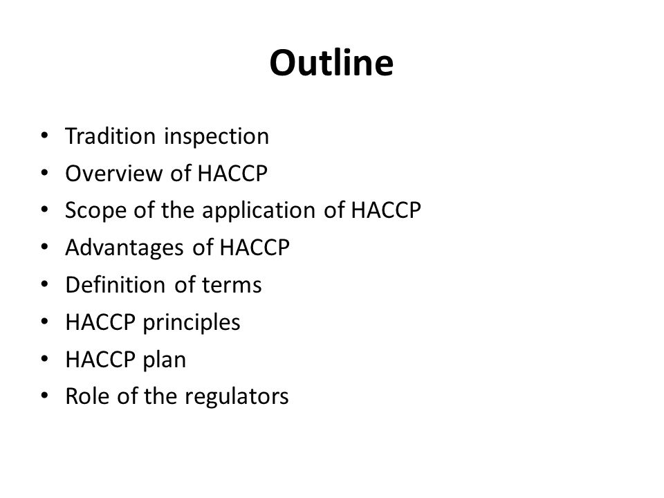 Unit 1: Food Inspection Topic: Introduction to HACCP Lecture